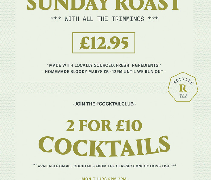 Sundays Free Of Cooking And 2 For £10 Cocktails At Rosylee
