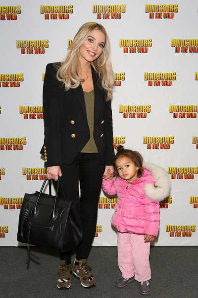 Helen Flanagan and daughter at Dinosaurs in the Wild. Photo by Dave Benett/Getty Images.
