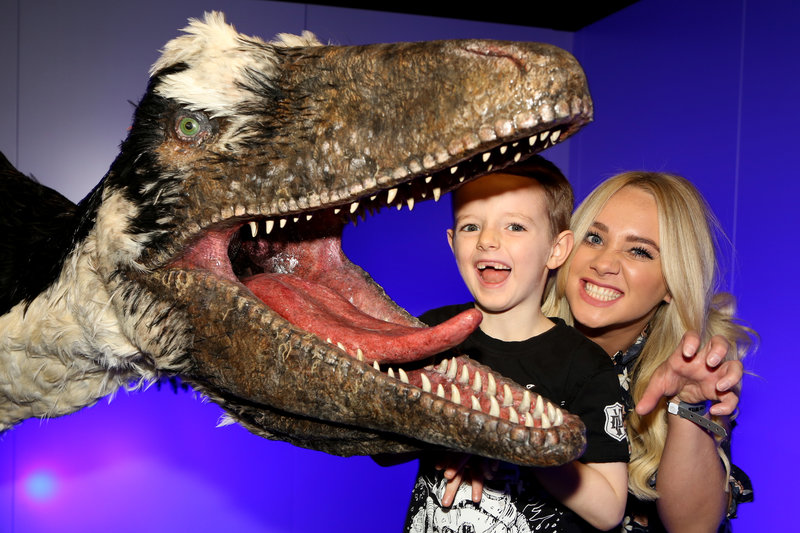Kirsty Leigh Porter and her family at Dinosaurs in the Wild. Photo by Dave Benett/Getty Images.