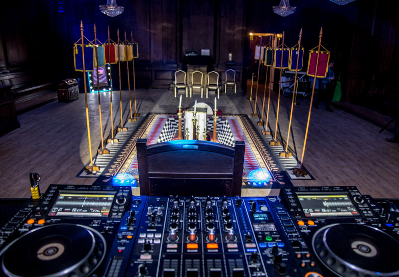 DJ decks at Manchester Hall. Photo by Elspeth Moore.