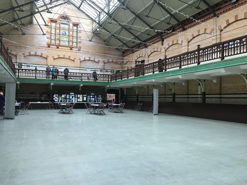 The sports hall at Victoria Baths in Manchester.