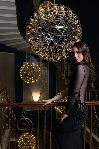 Model wearing Philip Armstrong dress. Photo by Carl Sukonik.
