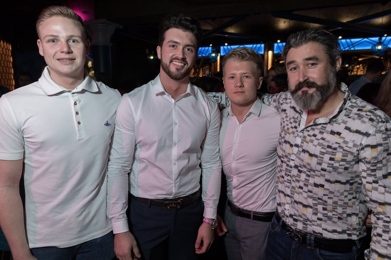 Nicky James Hardy, Nathan O'Neill, Mike Barlow and Terry O'Neill at the Dirty Martini launch party. Photo by Carl Sukonik / The Vain.