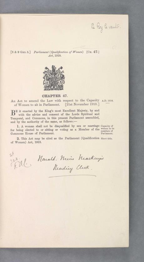 Parliament (Qualification of Women) Act 1918 allowed women to become MPs for the first time