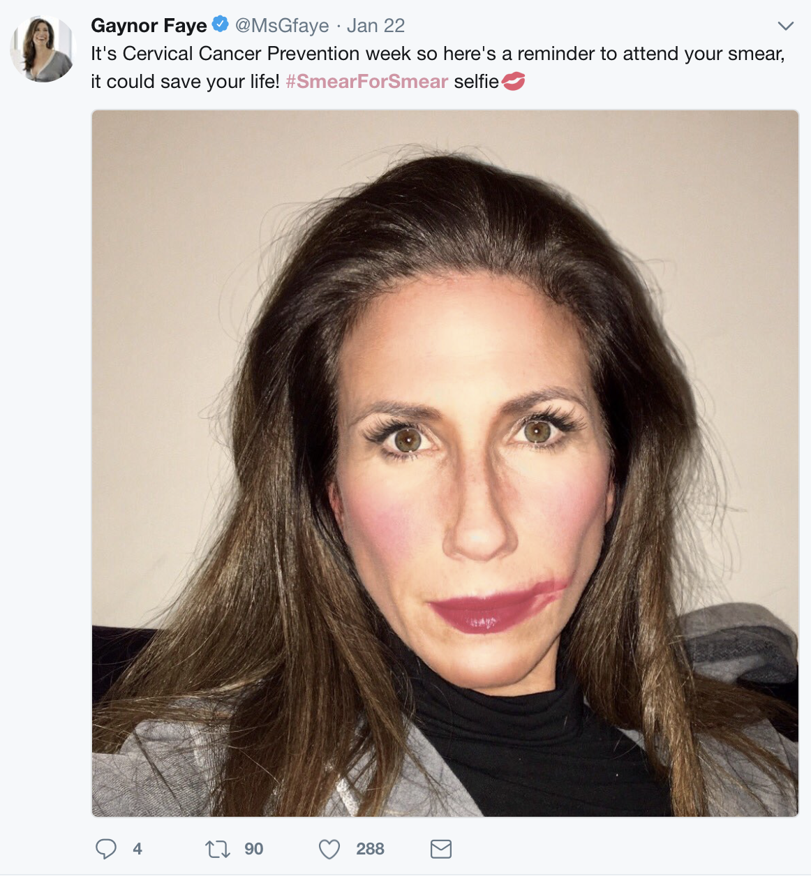 Actress, Gaynor Faye shows her support for the campaign IMAGE: @MsGfaye: Twitter