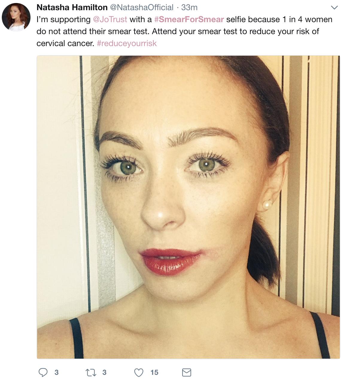 Actress, singer and Blogger Natasha Hamilton sports her smeared selfie  IMAGE: @Natashaoffical: Twitter