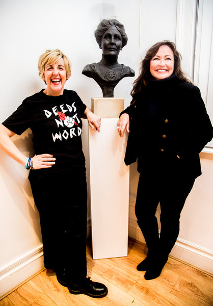Julie Hesmondhalgh and sculptor Jane Robbins. Photo by Elspeth Moore