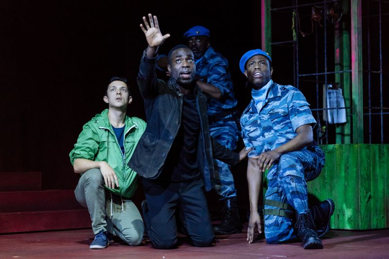 James Cooney (left) with Paapa Essiedu (centre) in Hamlet. Photo by Manuel Harlan for the RSC.