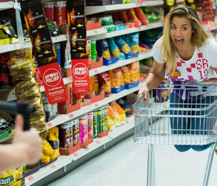 Gemma Atkinson has wheelie good time in Sainsbury's for Sport Relief