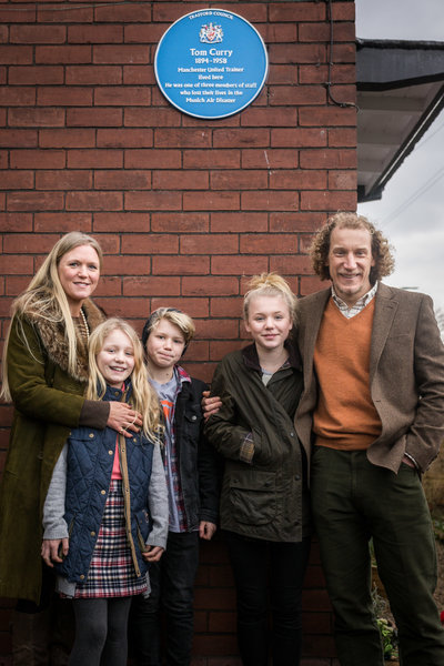 Tom Curry's family the blue plaque unveiling outside his former home.