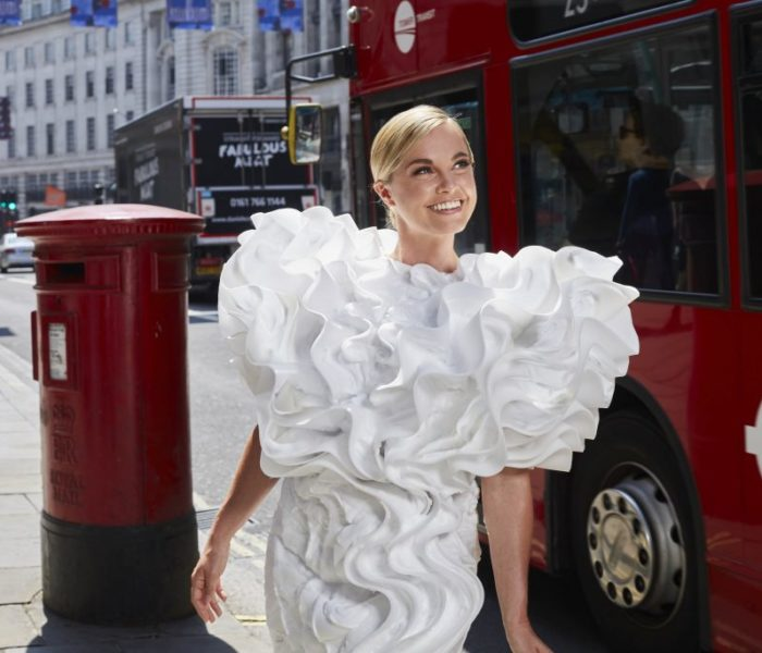 Katy Perry's costume designer unveils a collection of dresses made from WHIPPED MILK