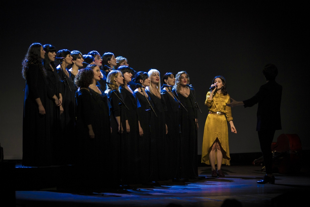 Katie Melua performing alongside the Gori Women's Choir at The Lowry Manchester 2018 Winter Tour