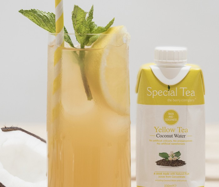 Get Juice Boost With The Berry Company's Yellow Tea & Coconut Water