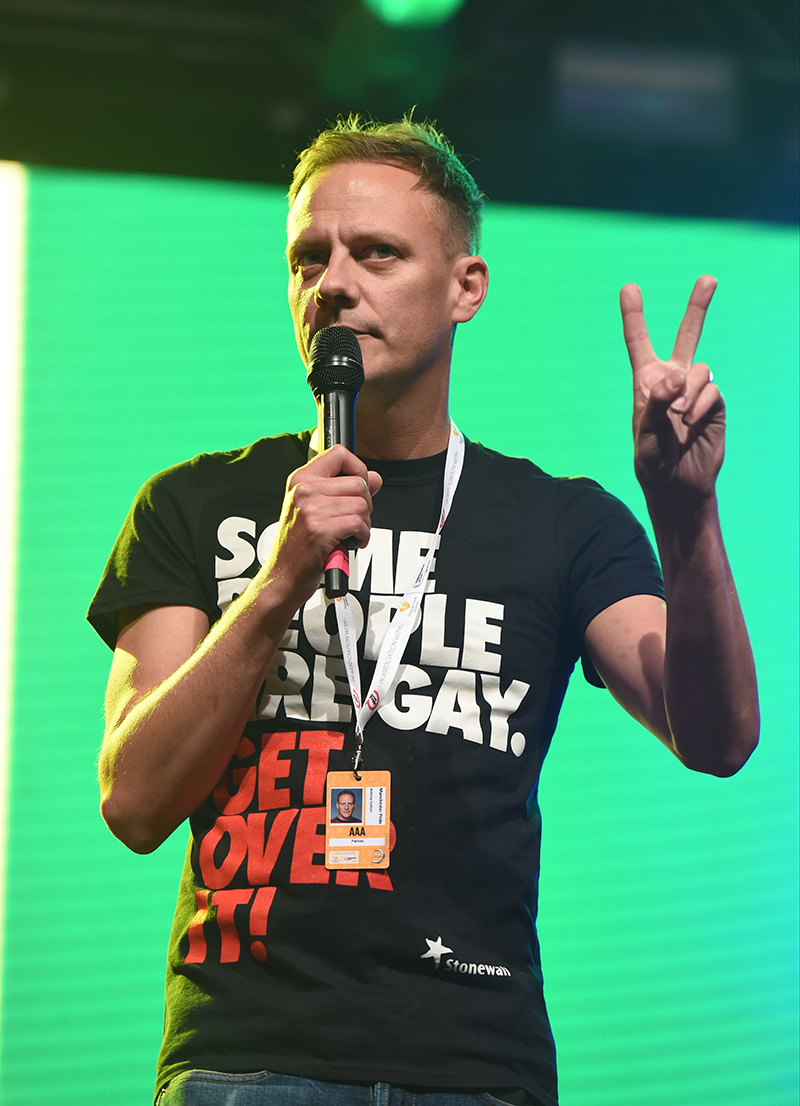 Peace: Anthony Cotton on stage at Manchester Pride.