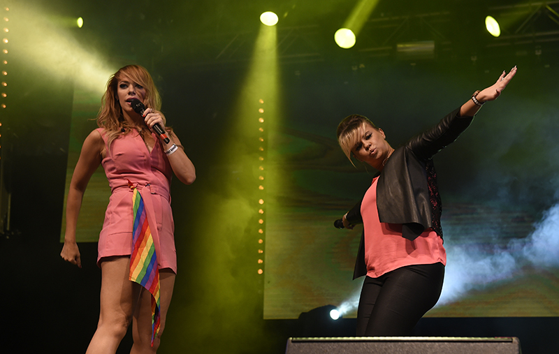 Atomic Kitten singing at Manchester Pride. Photo by Stephen Farrell.