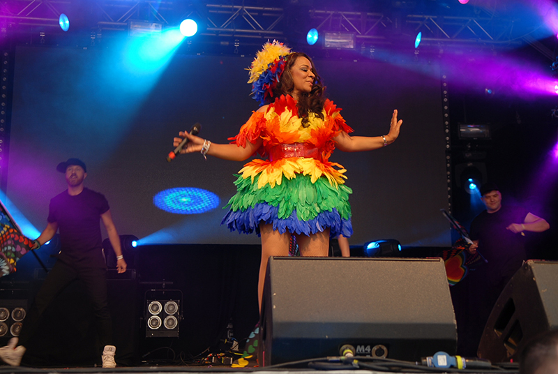 Rainbow: Rowetta performing with dancers at Manchester Pride.