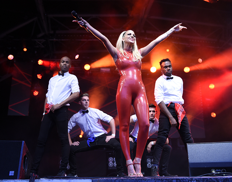 Sarah Harding performing with her dancers at Manchester Pride.