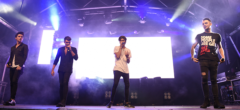 Singing their support for Manchester Pride:  Union J. Photo by Stephen Farrell.