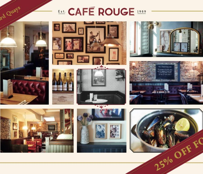 Enjoy 25% Off With Cafe Rouge Salford Quays