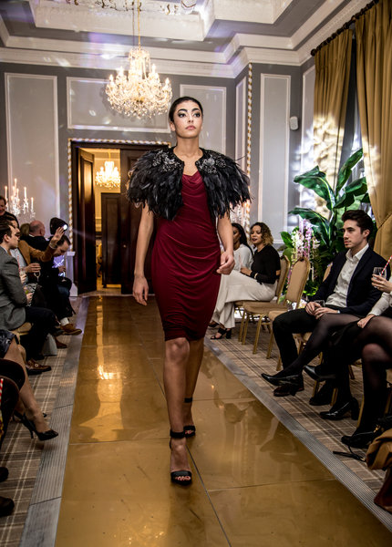 Fashion catwalk at Manchester Hall launch party. Photo Elspeth Moore