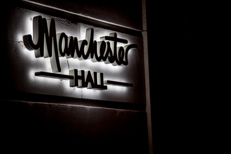 Manchester Hall sign. Photo by Elspeth Moore.