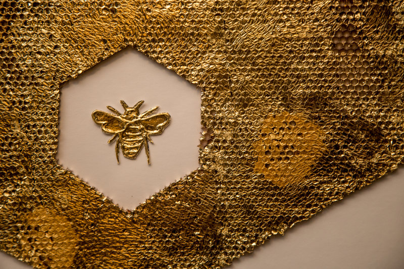 Manchester bee at manchester Hall. Photo by Elspeth Moore.