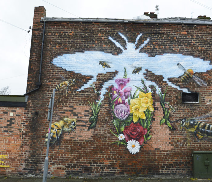 A bee mural to remember the ones that passed away at the Manchester Arena attack