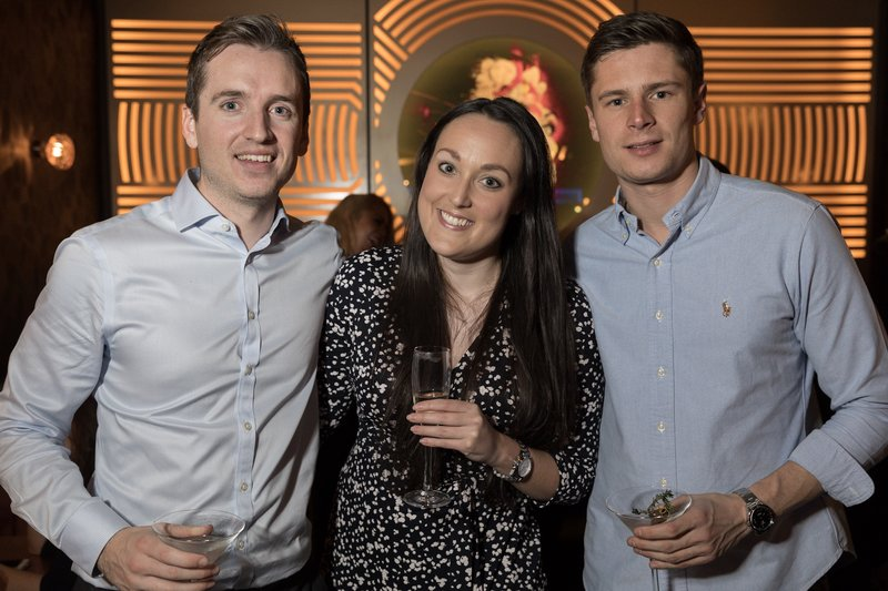 Richard Tyrell, Briana Scaly and Andrew Bennie at the Dirty Martini launch party. Photo: Carl Sukonik / The Vain