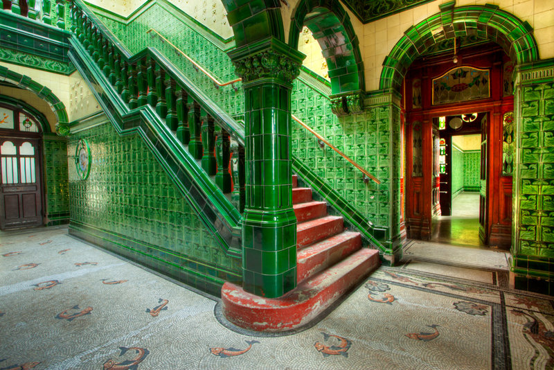 The emerald staircases in Victoria Baths.