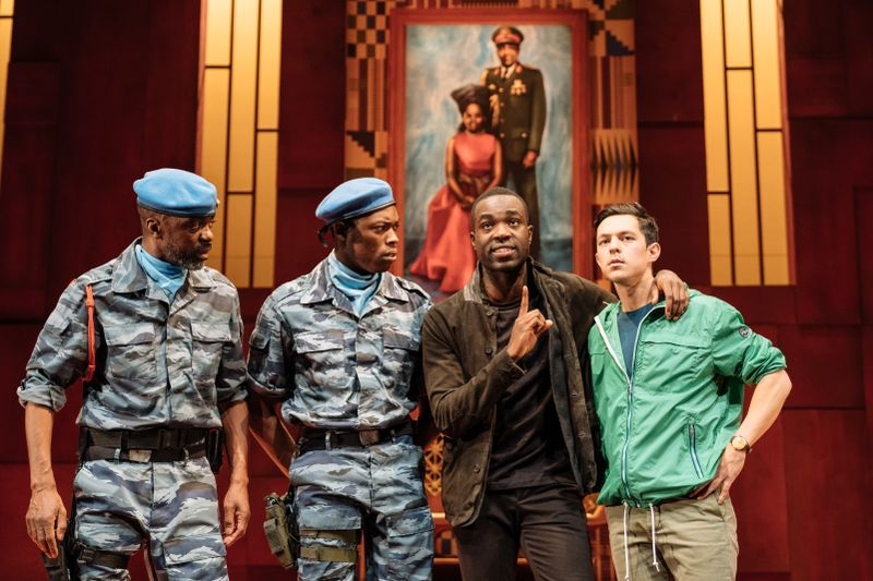 Paapa Essiedu as Hamlet (centre) and James Cooney as Horatio (right). Photo by Manuel Harlan for the RSC.