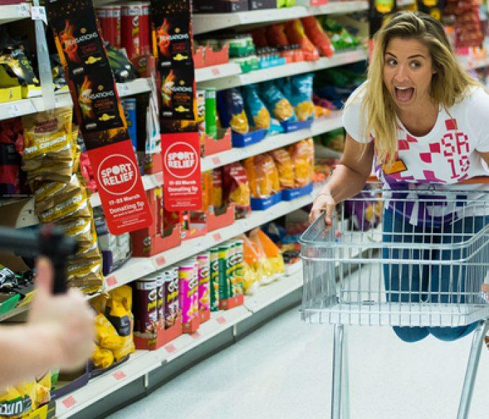 Gemma Atkinson has wheelie good time in Sainsbury's for Sport Relief