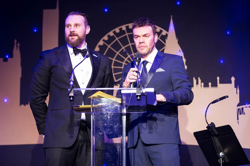 Darren Proctor (right) NSPCC Childline Ball Manchester. Photo by Sasha Ray