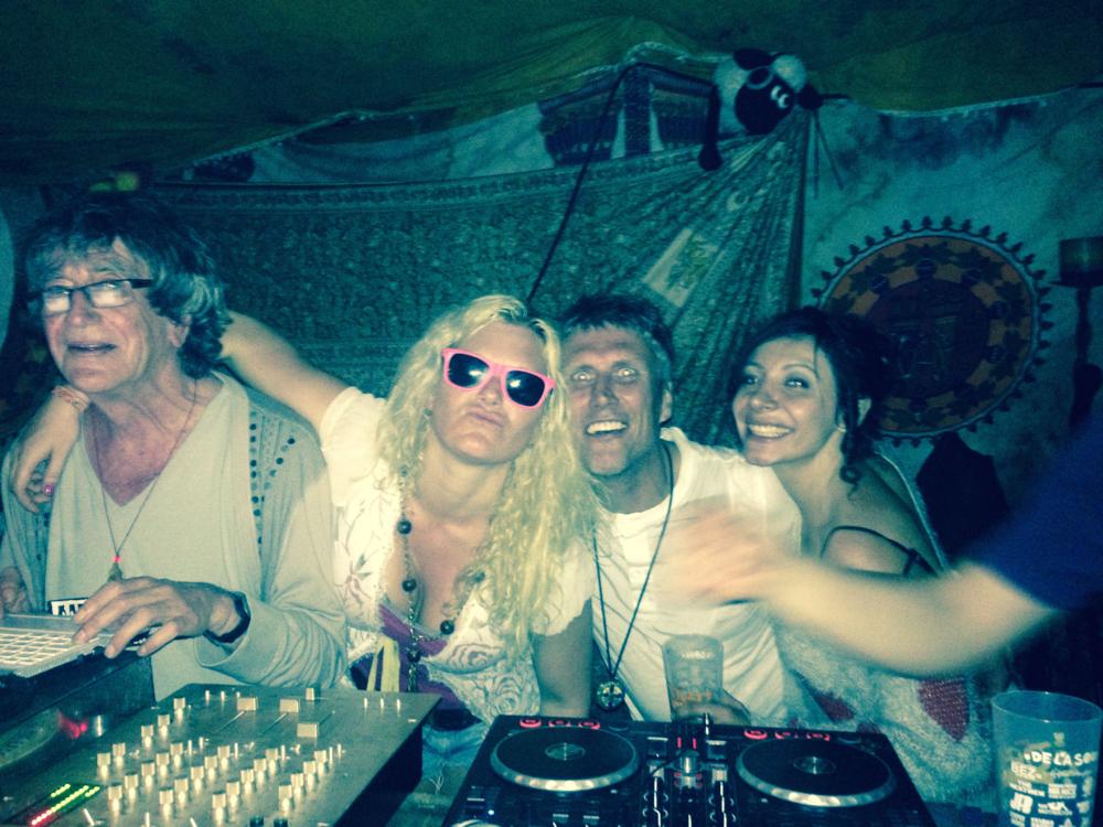 Eden DJing with Howard & Bez