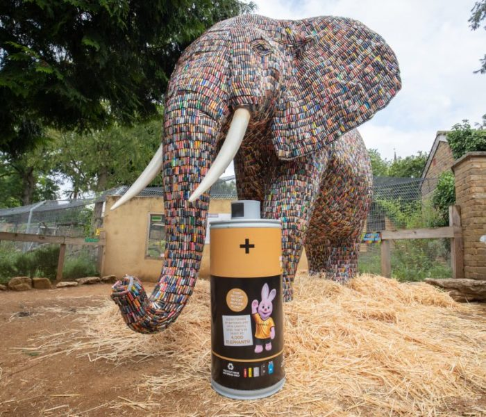 This life-sized elephant was made from 29,649 batteries to highlight UK waste