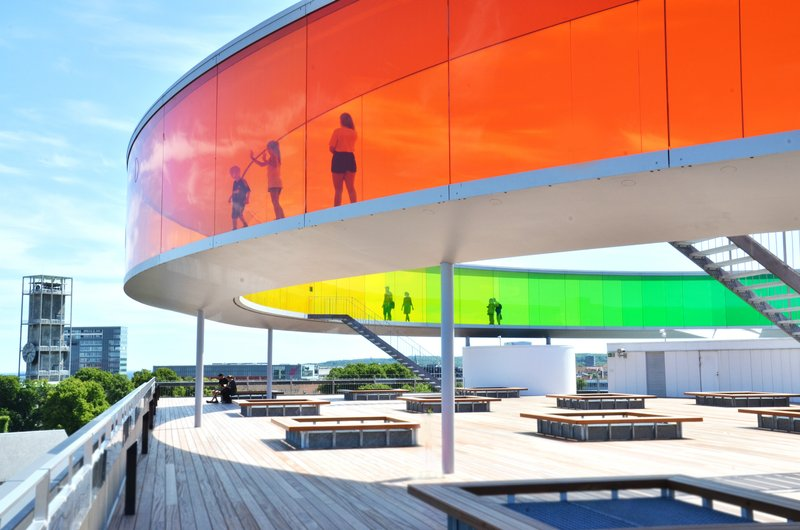 Your rainbow panorama on the roof of ARoS is a spectacular artwork made of the Danish/Icelandic artist Olafur Eliasson. Photo credit: Your rainbow panorama, Olafur Eliasson, 2006 - 2011, ARoS Aarhus Art Museum.