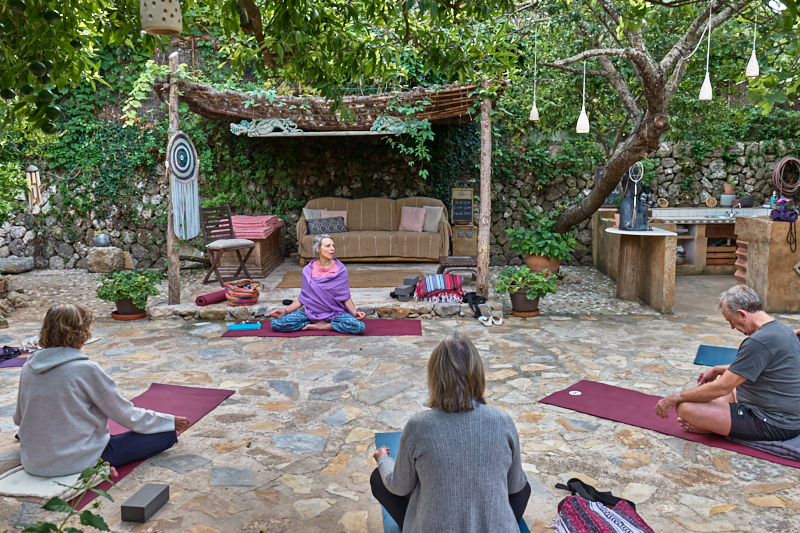 Yoga in the healing space at Deia Retreat, Deia, Mallorca