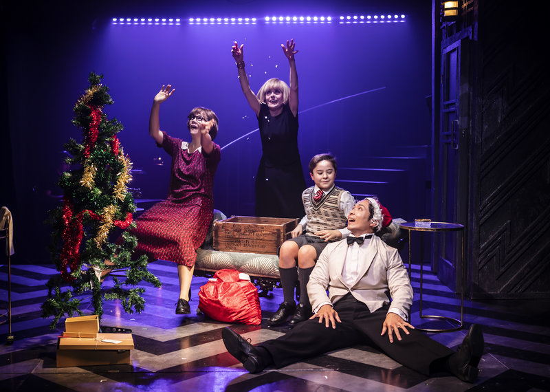 LtoR: Jessie May (Agnes), Tracie Bennett (Mame), Harry Cross (Young Patrick), Benjamin Wong (Ito)  Credit Pamela Raith