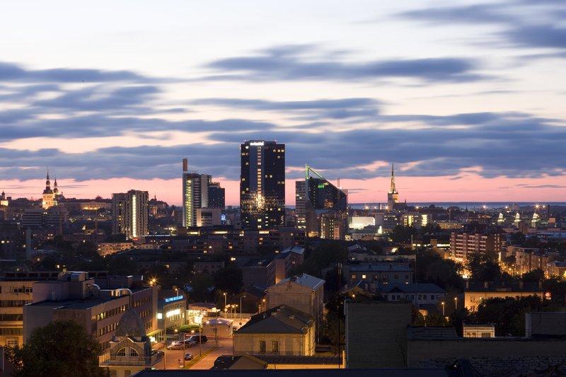 Dusk skyline of Tallinn city in Estonia.