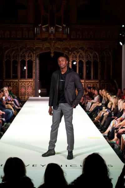 Oscar Jacobson jacket £405, Dolce & Gabbana top £395, Helmut Lang trousers £350, Dior shoes £770