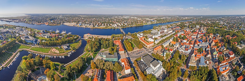 Landscape view of river and rooftops in Parnu, Estonia