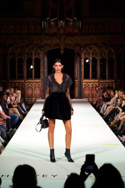 Philosophy top £345, Alexandre Vauthier skirt £960, Alexander McQueen boots £890, Valentino bag £1360