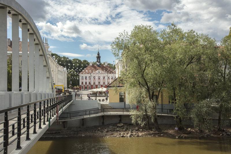 Beautiful scene of bridge over river in Tartu, Estonia