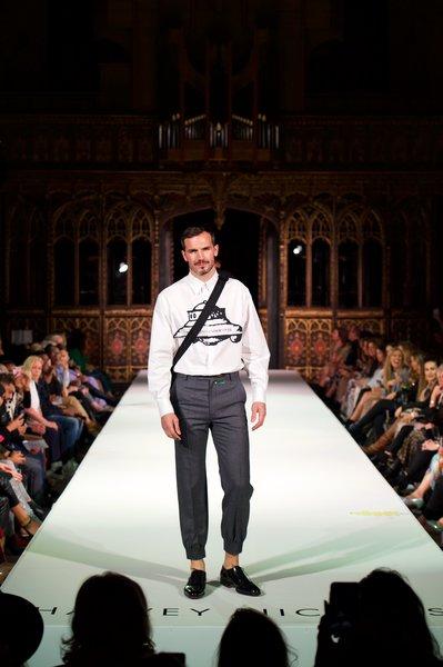 Model wearing Valentino top £590, Gucci trousers £755, Santoni shoes £540 Dior bag £930