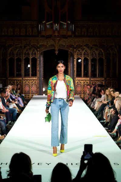 Model wearing Versace jacket £1540, Joseph cami top £215, off-white jeans £450, Wandler bag £490, Jimmy Choo shoes £475