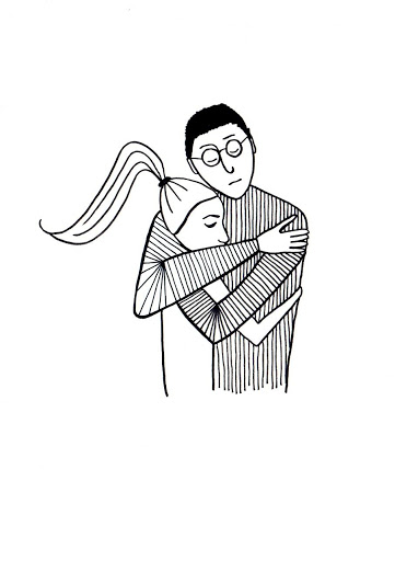Black and white drawing showing dad hugging his daughter.
