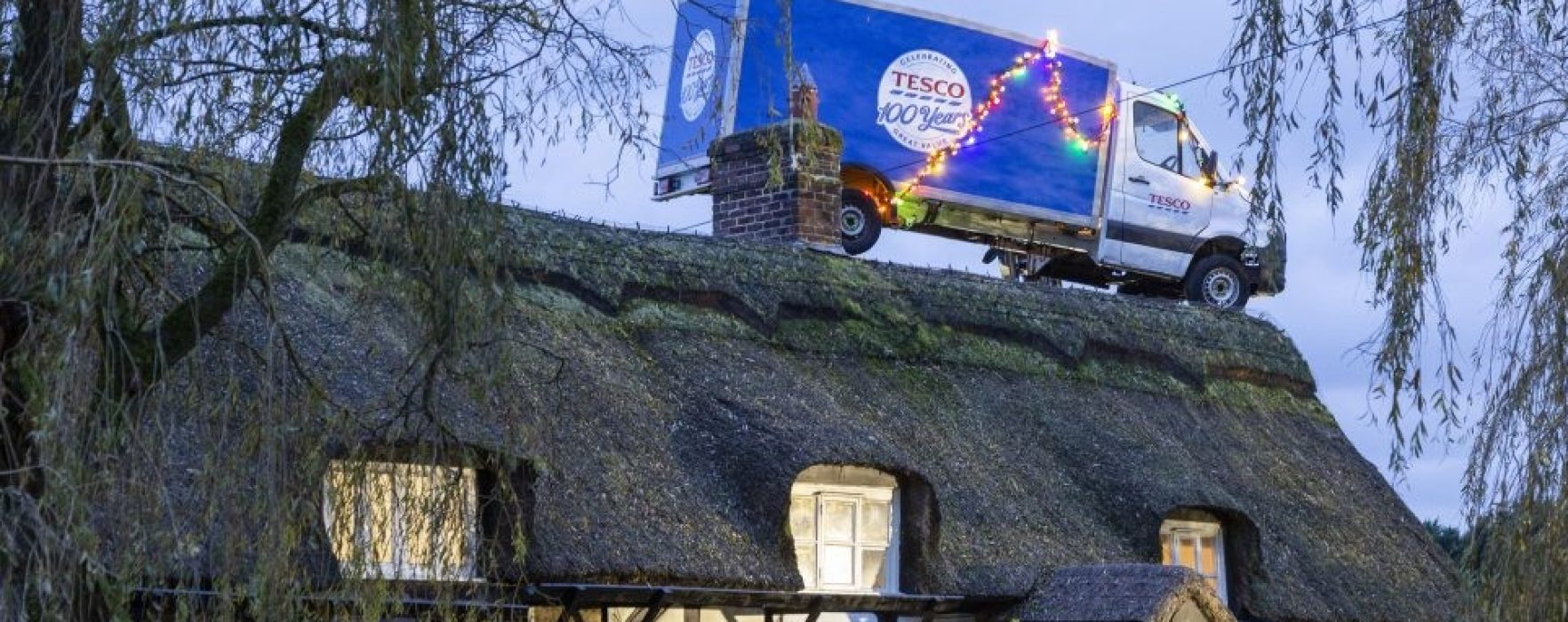 CHESHIRE: Tesco delivery van appears on roof of house in Knutsford