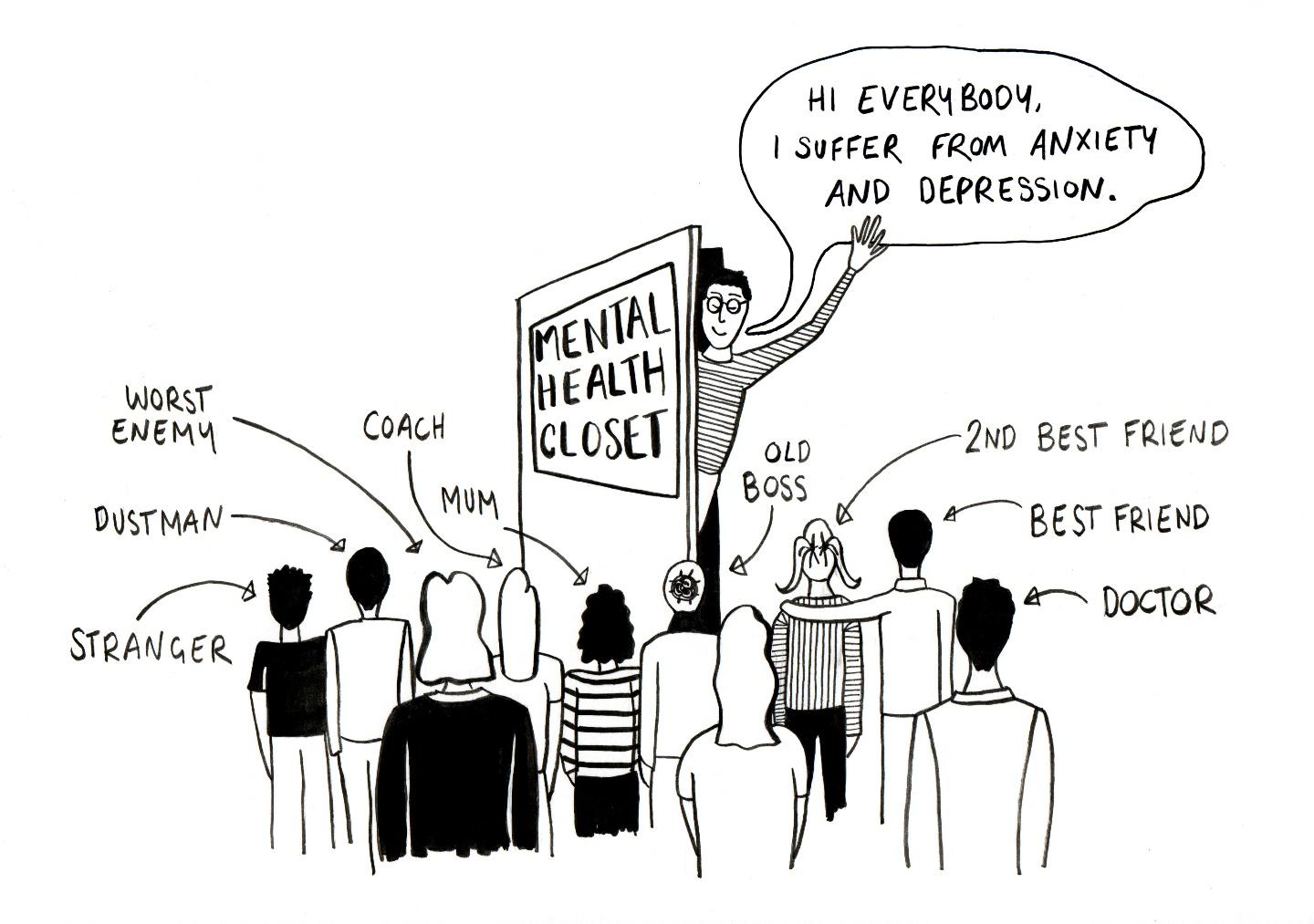 Black and white illustration showing a man telling people that he suffers from anxiety and depression.