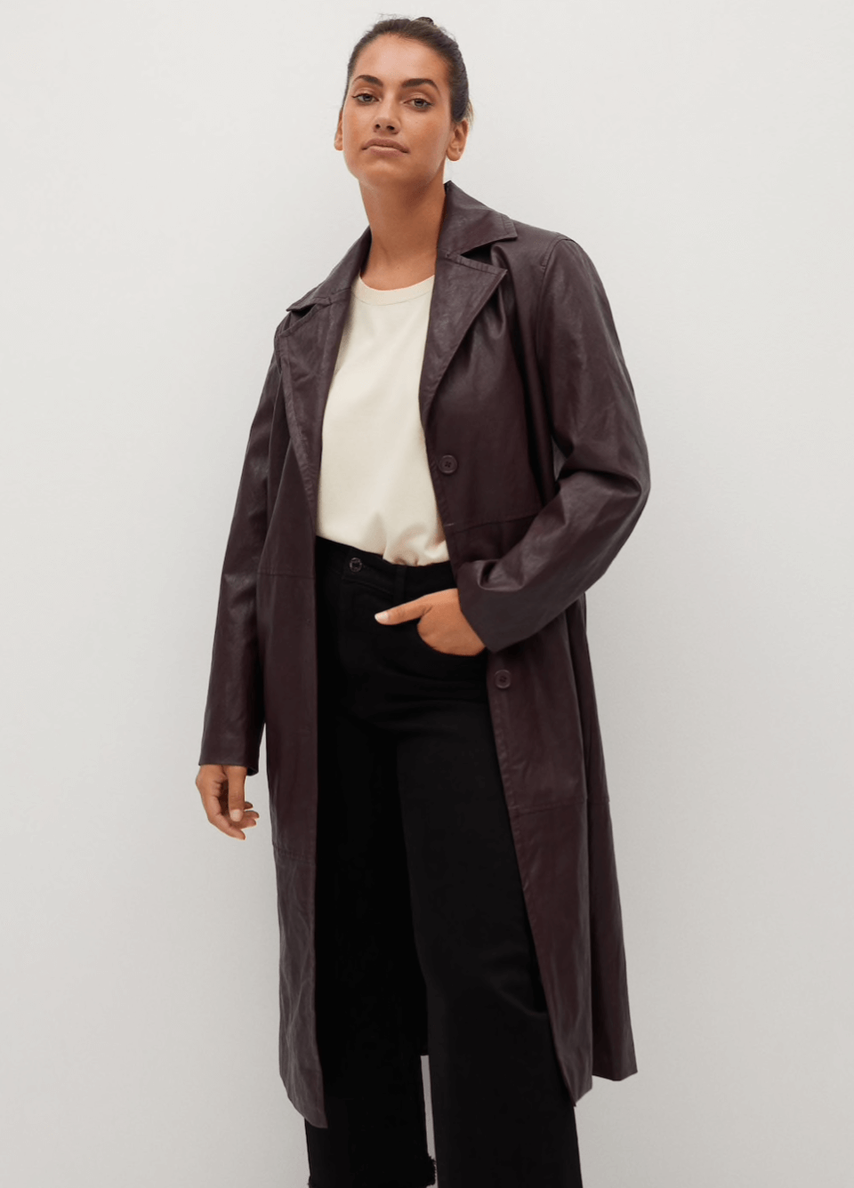 The best leather trench coats for right now: Mango