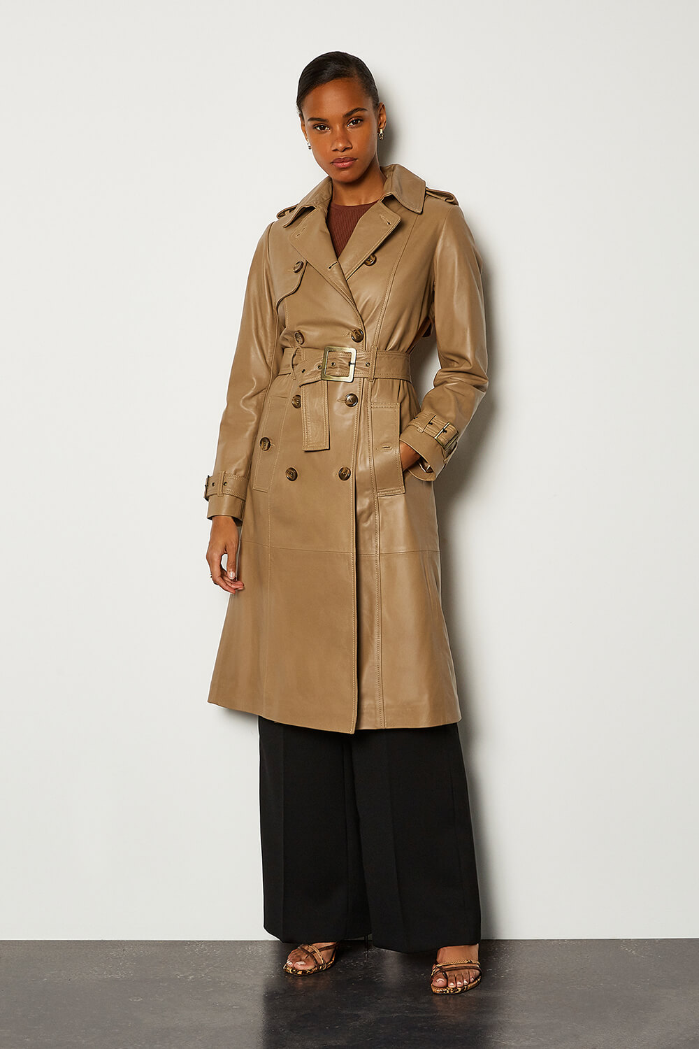 The best leather trench coats for right now: Karen Millen.