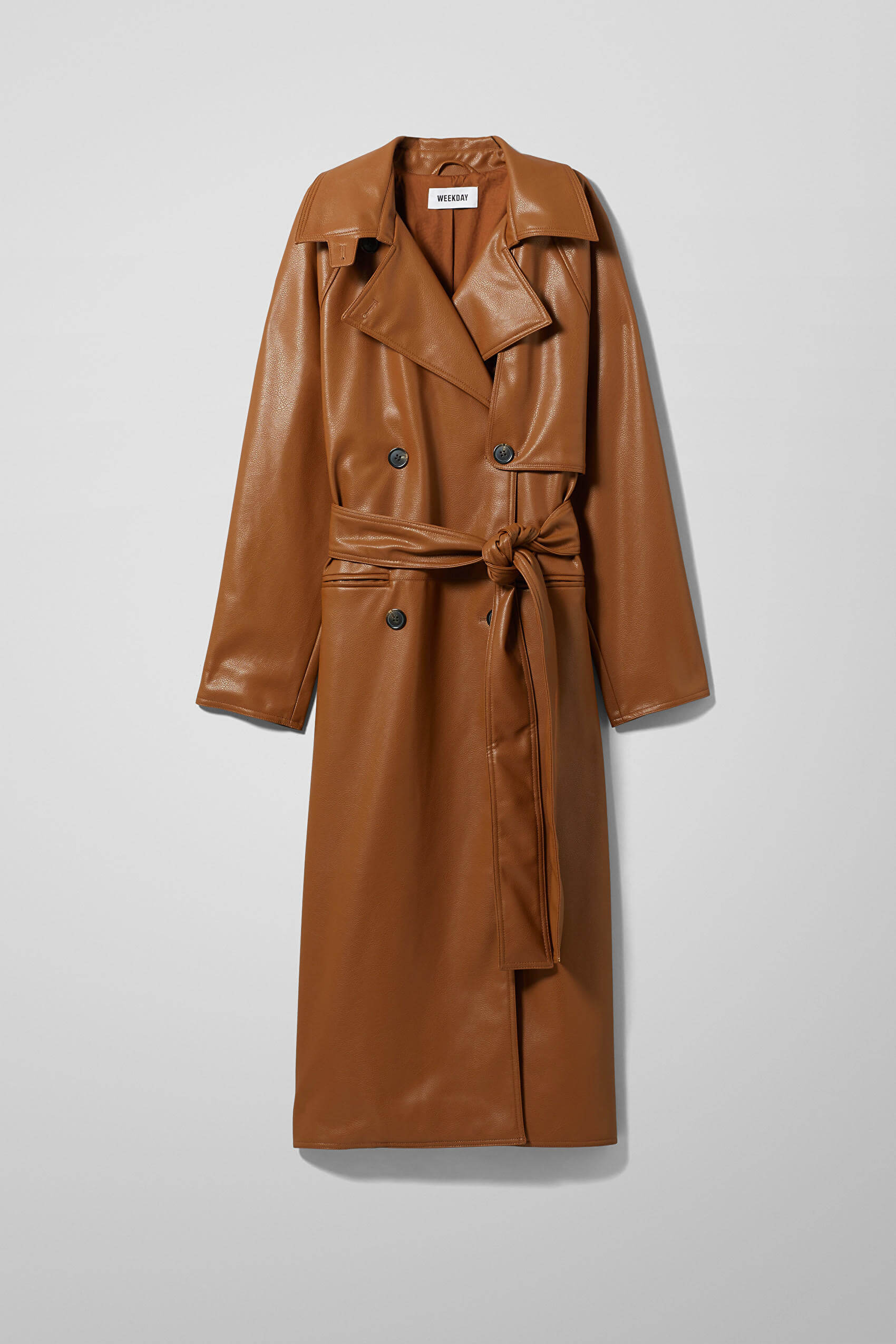 The best leather trench coats for right now: Weekday.